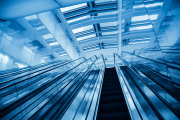 modern blue escalator