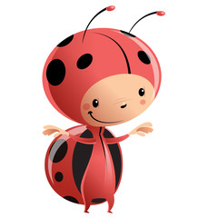 Cartoon kid wearing funny ladybug costume