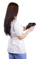 Medical girl worker with electronic tablet in hands