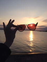 sunset and glasses