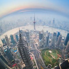 fisheye view of shanghai at dusk