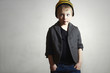 Funny little Boy.grunge cap and jeans.blazer.Fashion Children