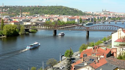 city(street) with Vltava river and bridges