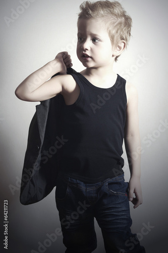 fashionable little boy.haircut.fashion children.handsome boy