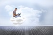 Composite image of man wearing glasses sitting on cloud