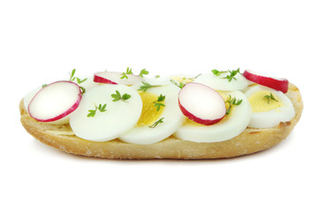 Sandwich with egg, radish and cress