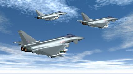 Europäische Militärjets im Flug