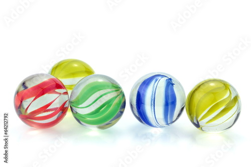 Colorful glass marbles isolated on white background - 64212792
