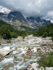 waterfall and landscape of Mont Blanc