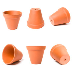 Decorative clay flower pots isolated on the white