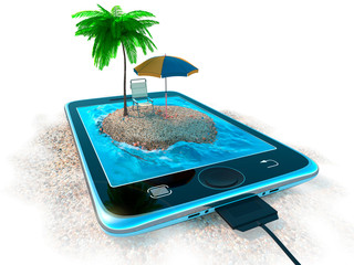 Digital tablet and sea beach as vacation concept background