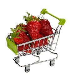 Strawberries in a metal basket