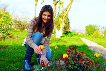 Gardening - happy woman cutting the flowers in the garden