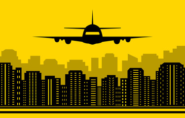 yellow city background with plane