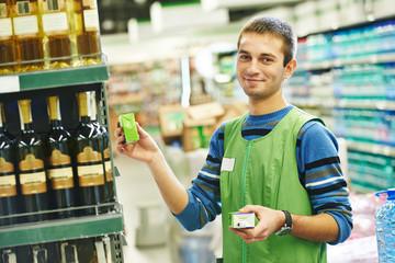 Shopping seller in supermarket
