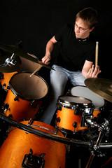 Drummer behind drums