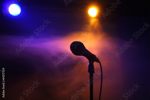canvas print picture Microphone on stage