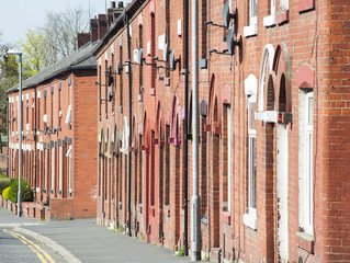 row of red bricked houses