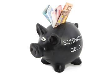 Sparschwein mit Schwarzgeld