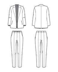 Women's blazer and pants. Vector illustration.