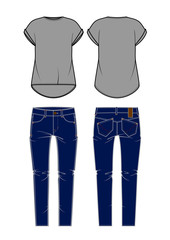 Women's jeans and shirt. Vector illustration.
