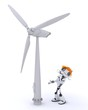 Robot with wind turbine