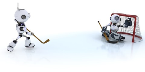 Robots playing ice hockey
