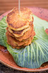 pancakes on cabbage leaf