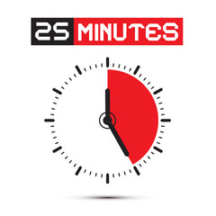 Twenty Five Minutes Stop Watch - Clock Vector Illustration
