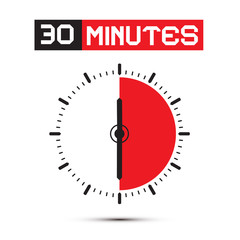 Thirty Minutes Stop Watch - Clock Vector Illustration
