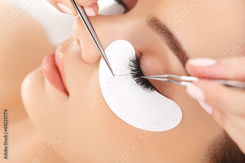 Woman Eye with Long Eyelashes. Eyelash Extension Poster