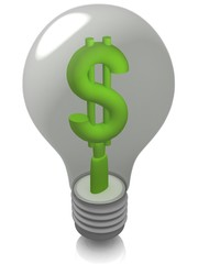 Light bulb with Dollar symbol.
