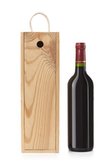 Wooden case with wine bottle
