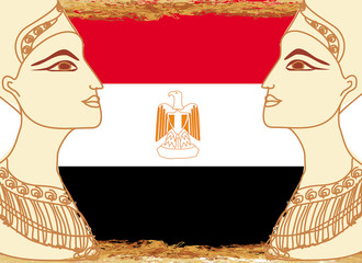 Egyptian queen cleopatra on the background of the flag of Egypt