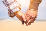 Fototapety Senior couple in love walking at the beach holding hands