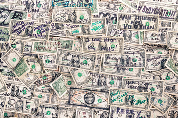 Heap of dollars banknotes background