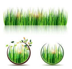 Grass and grass icons, beautiful meadow in round shapes with sun
