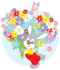 Bunny with a holiday bouquet of colorful flowers