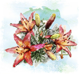 watercolor illustration of bouquet of lilies