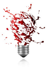 Red paint burst made light bulb