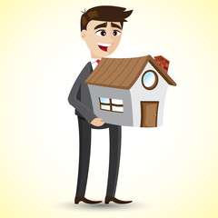 cartoon businessman holding house