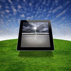 Desert image on a digital tablet