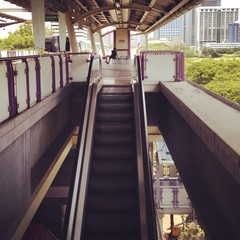 escalator in skytrain station