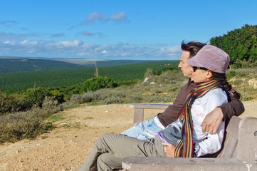 Couple looking at  view of Kruger NP, South Africa