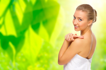 Healthy woman on floral background