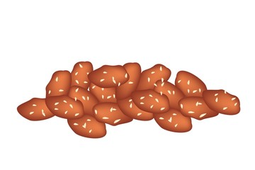 Stack of Caramelised Peanuts on White Background