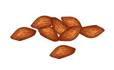 A Stack of Almonds on White Background