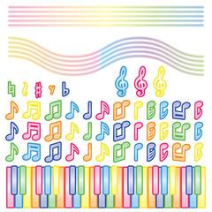 音符と鍵盤(カラフル)