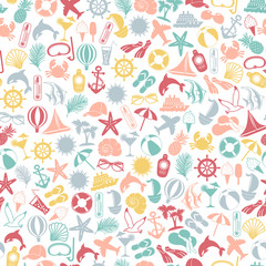 seamless pattern summer travel icons