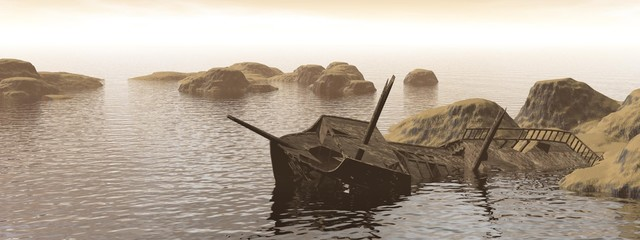 Old wreck - 3D render